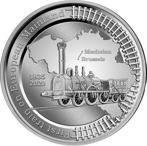 5 Euro Belgien 185 J. Eisenbahn in Europa 2020 Silber PP