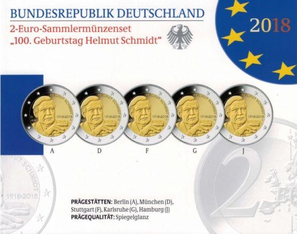"""5x2 € Deutschland """"Helmut Schmidt"""" 2018 CN PP A-J"""