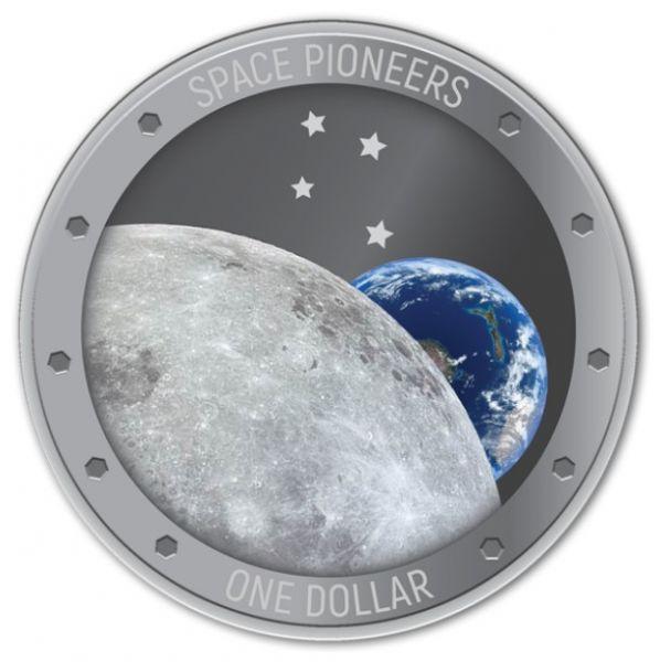 "1 Dollar Neuseeland ""Raumfahrtpioniere"" 2019 Silber PP"