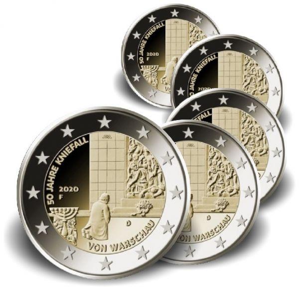 5x2 Euro Deutschland 50 J. Kniefall v. Warschau 2020 CN vz A-J