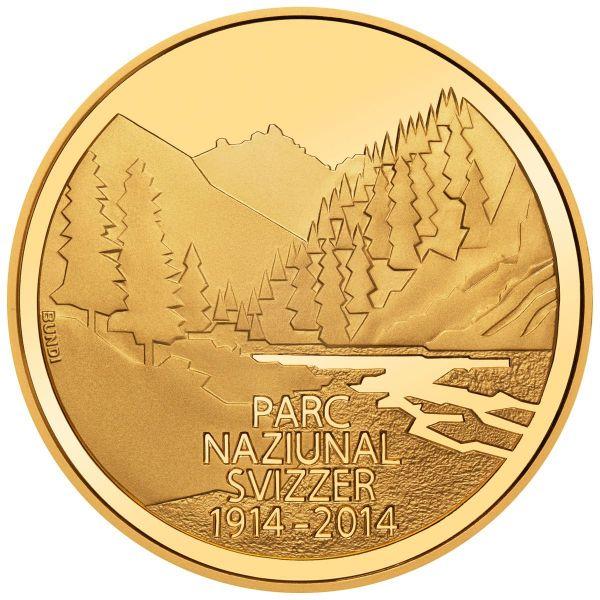 """50 CHF Schweiz """"100 J. Schweizer Nationalpark"""" 2014 Gold PP"""