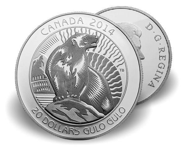 """20 $ Ungezähmtes Kanada """"Vielfraß"""" 2014 Ag PP"""