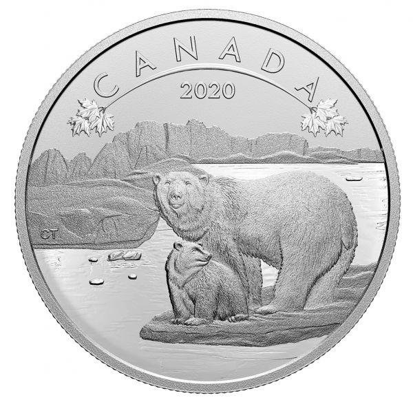 10 Dollar Kanada O Canada - Eisbären 2020 Silber MP