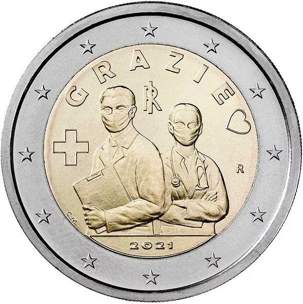 2 Euro Italien Berufe im Gesundheitswesen 2021 CuNi bfr