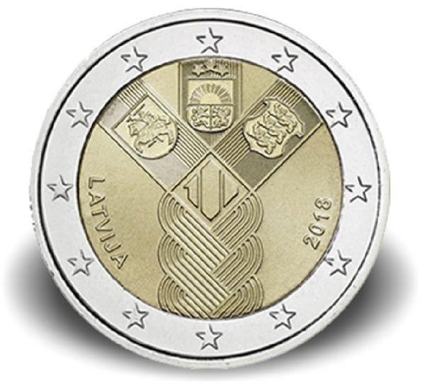 """2 € Lettland """"100 J. Unabhängigkeit"""" 2018 CuNi bfr"""
