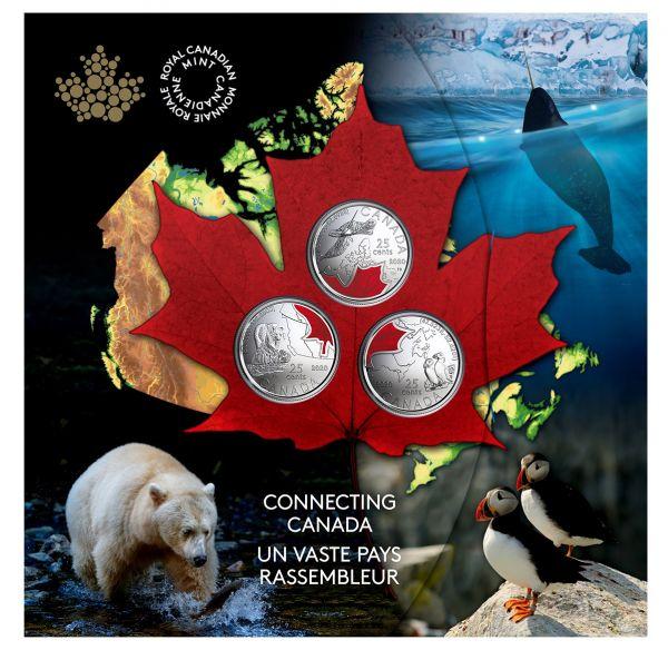 3x 25 Cent Kanada Connecting Canada Set 2020 CuNi St