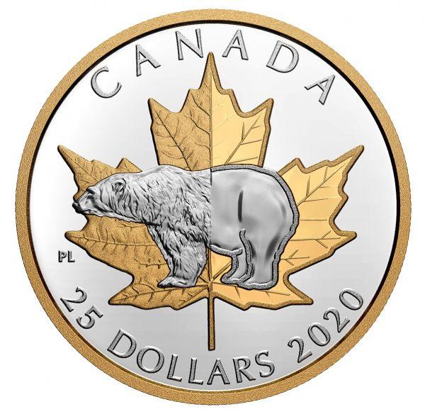25 Dollar Kanada Zeitlose Ikonen - Eisbär 2020 Silber PP