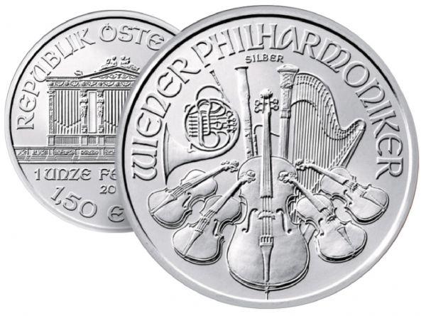 """1,50 € Österreich """"W.Philharmoniker"""" 2014 1oz Ag St"""
