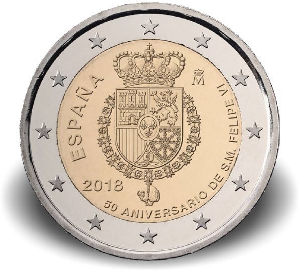 """2 € Spanien """"50. Geburtstag von König Felipe VI."""" 2018 CN bfr"""
