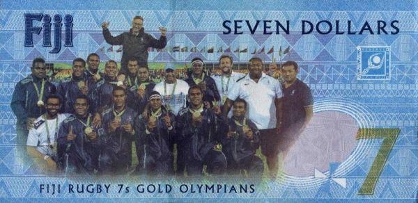 7 Dollar Fidschi Rugby - Erste Goldmedaille Banknote druckfrisch