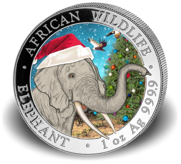"100 Shillings Somalia ""Elefant in Schneekugel"" 2018 Ag St"