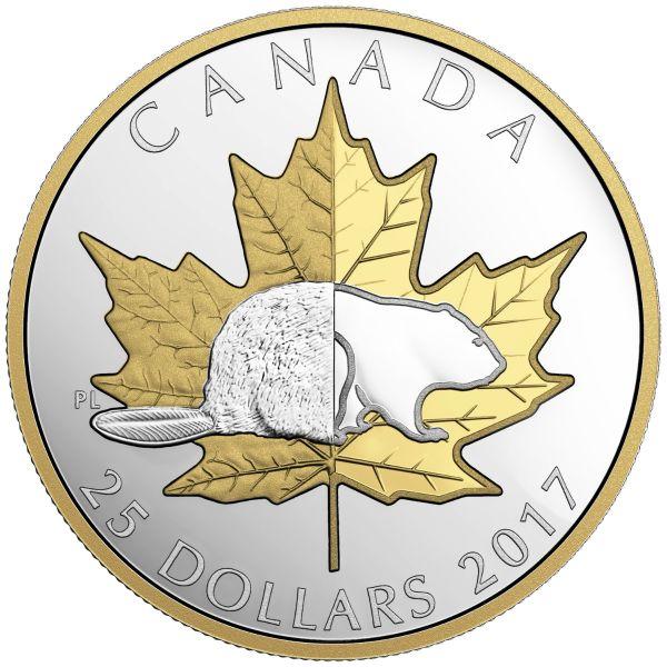 """25 $ Kanada """"Maple Leaf und Biber"""" 2017 Ag PP"""