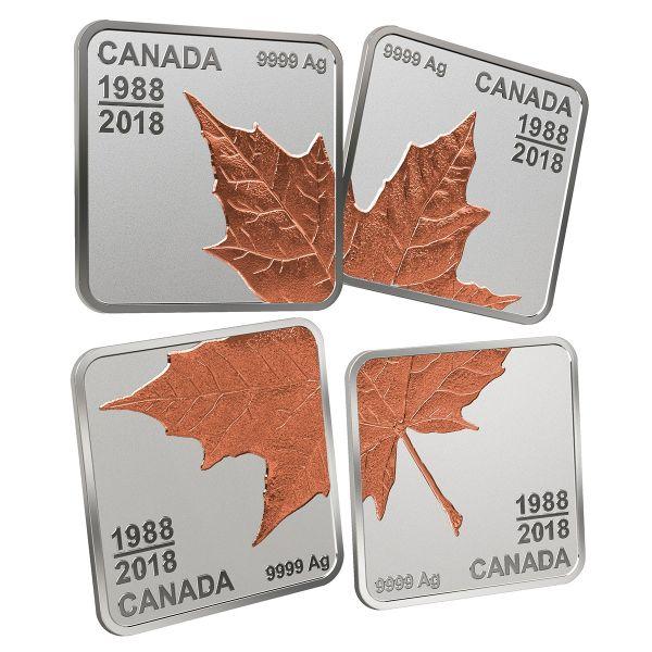 4x 3 Dollar Kanada Maple Leaf Puzzle 2018 Silber PP