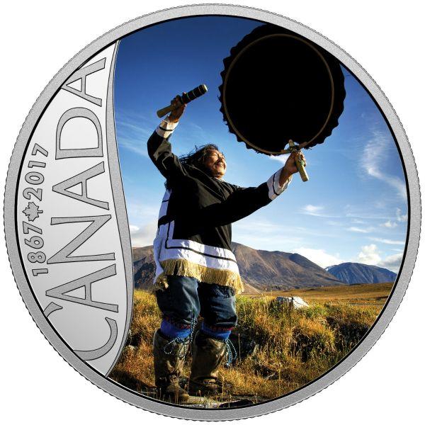 "10 $ Kanada ""Trommeltanz"" 2017 Ag -farbig- PP"