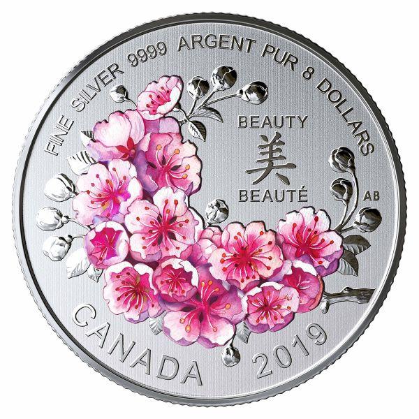 """8 $ Kanada """"Kirschblüten - Ein Geschenk der Schönheit"""" 2019 Silber St"""