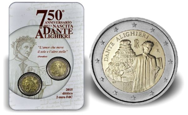 "2x2 € Italien ""750 Geb. Dante Alighieri"" 2015 CN-Blister- St"