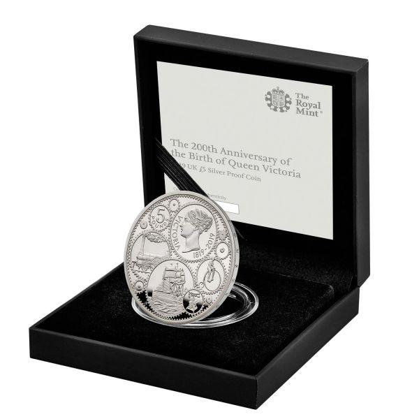 """5 £ Großbrit. """"200 GB. von Queen Victoria"""" 2019 Silber PP"""