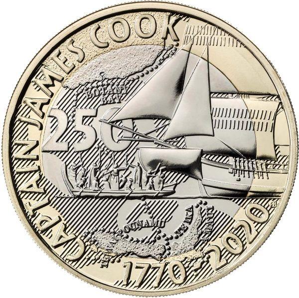 2 Pfund GB J.Cook - 250 J. Entdeckungsreise #3 2020 CN St Blister
