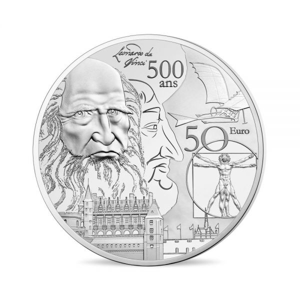"50 € Frankreich ""Renaissance - Da Vinci"" 2019 Silber PP"