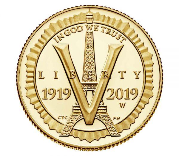 """5$ USA """"100 J. Amerikanische Legion"""" 2019 Gold PP"""