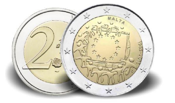 "2 € Malta ""30 Jahre Europaflagge"" 2015 CN vz"