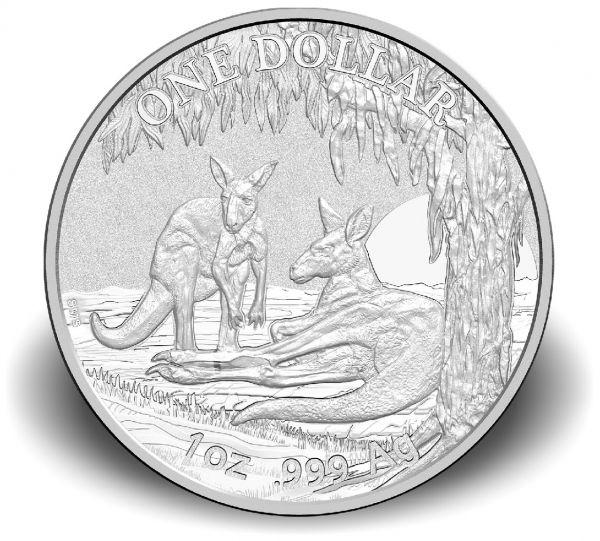 1 $ Australien Känguru 2018 Kapsel Ag St