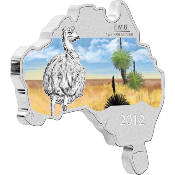 1 $ Emu Mapshape 2012 1oz Ag St
