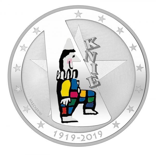 """20 CHF Schweiz """"100 Jahre Circus Knie"""" 2019 Silber PP"""