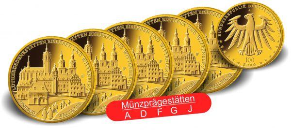 "5x 100 € DE ""Luthergedenkstätten"" 2017 Au St 1/2oz A-J"