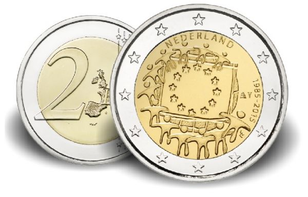 """2 € Niederlande """"30 Jahre Europaflagge"""" 2015 CN vz"""
