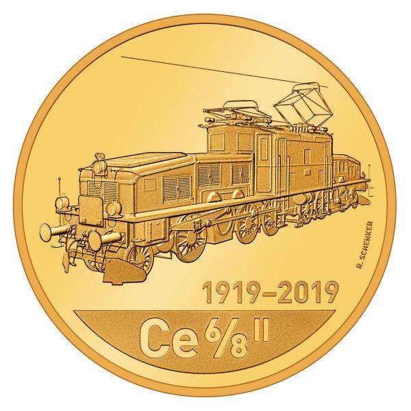"""50 CHF Schweiz """"Lokomotive Krokodil"""" Künstlerzertifikat 2019 Gold PP"""