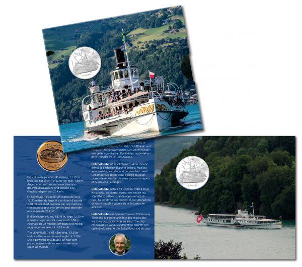 """20 CHF Schweiz """"Dampfschiff - Blümlisalp"""" im Folder 2019 Silber St"""