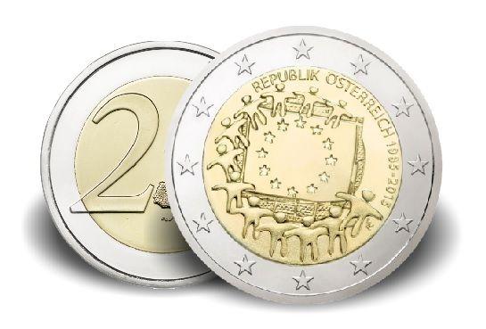 """2 € Österreich """"30 Jahre Europaflagge"""" 2015 CN vz"""