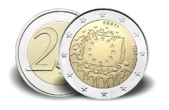 "2 € Estland ""30 Jahre Europaflagge"" 2015 CuNi vz"