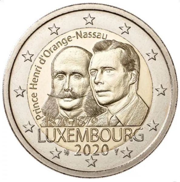 2 Euro Luxemburg 200 Geb. Prinz Henri 2020 CN bfr