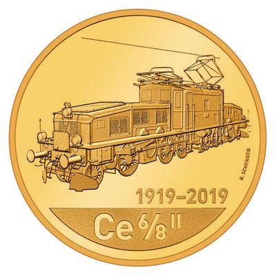 "50 CHF Schweiz ""Lokomotive Krokodil"" 2019 Gold PP"