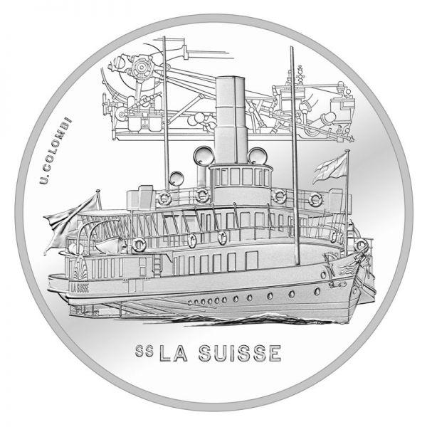 """20 CHF Schweiz """"Dampfschiff - La Suisse"""" 2018 Silber St"""