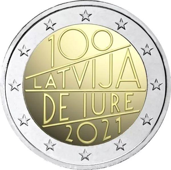 2 Euro Lettland 100. Jt. internat. Anerkennung 2021 CuNi bfr