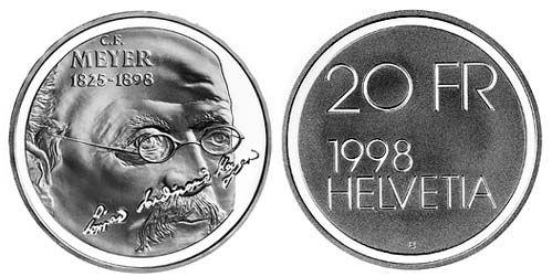 """20 CHF Schweiz """"C.F. Meyer"""" 1998 Silber St"""