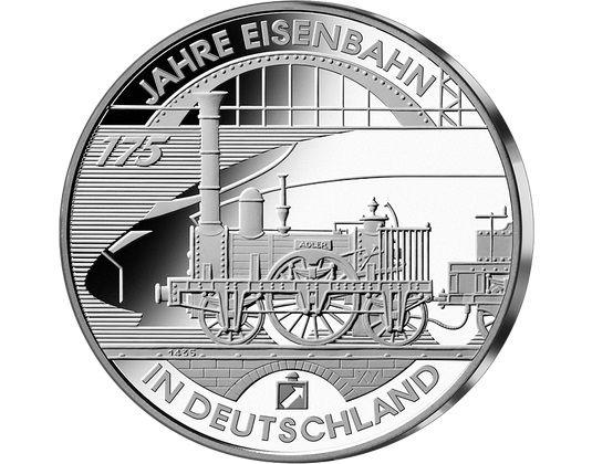 """10 € Deutschland """"175 Jahre Eisenbahn"""" 2010 Silber PP -D-"""