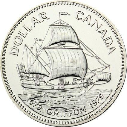 "1 $ Kanada ""Griffon"" 1979 Silber St"