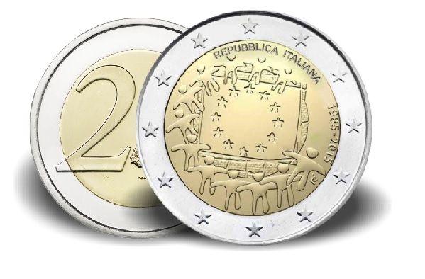 """2 € Italien """"30 Jahre Europaflagge"""" 2015 CN vz"""