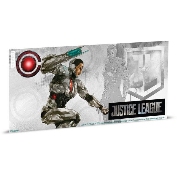"""1 Dollar Niue """"Justice League - Cyborg"""" Banknote 2018 Ag St"""