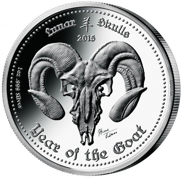 5 Cedis Ghana Lunar Skulls - Goat 2015 1oz Ag PP