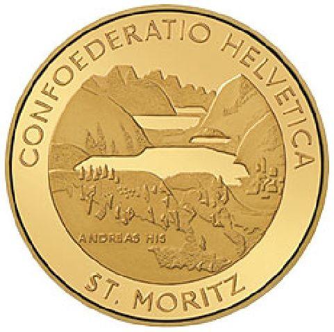 "50 CHF Schweiz ""Ski WM St. Moritz"" 2003 Gold PP"