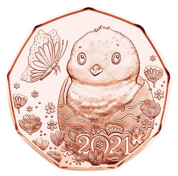5 Euro Österreich Osterküken 2021 Cu vz