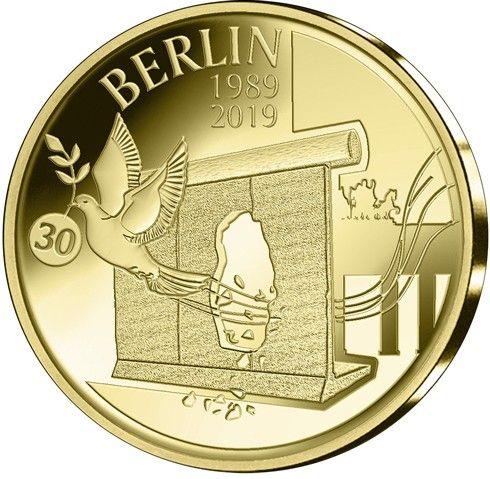 12,50 Euro Belgien 30 Jahre Mauerfall 2019 Gold PP