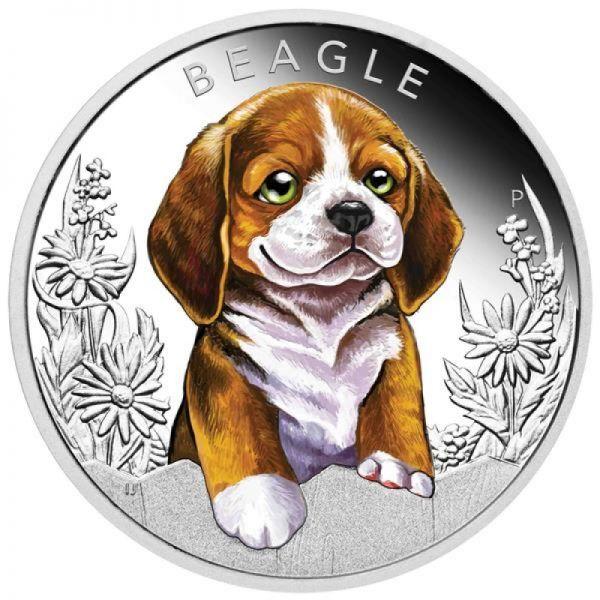 "50 Ct. Tuvalu ""Hundebabies - Beagle"" 2018 Silber PP"