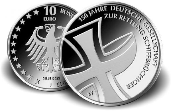 """10 € DE """"150 J. Ges. Rettung Schiffbrüchiger"""" 2015 CN St"""