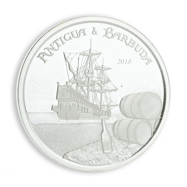 "2 Dollar Antigua Barbuda ""Rum Runner"" 2018 Silber St"